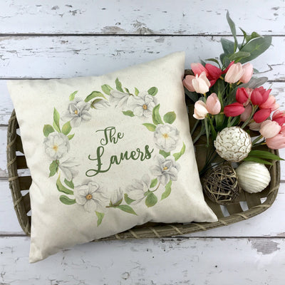 Personalized Magnolia Wreath Pillow