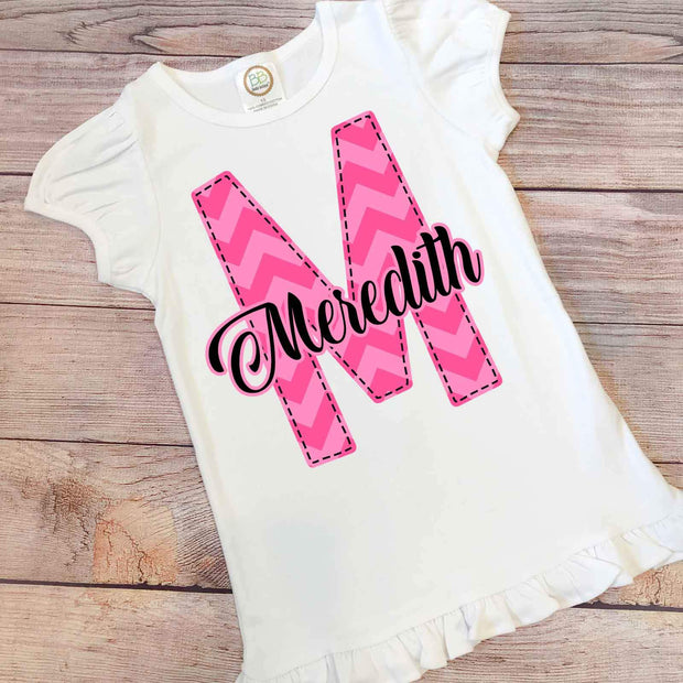 Personalized Letter and Name School Shirt Little Girl