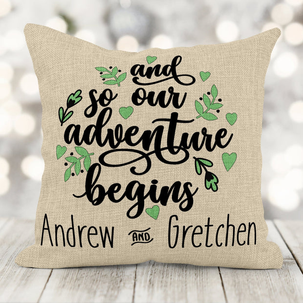 And So Our Adventure Begins Personalized 16x16 Burlap Pillow With Insert