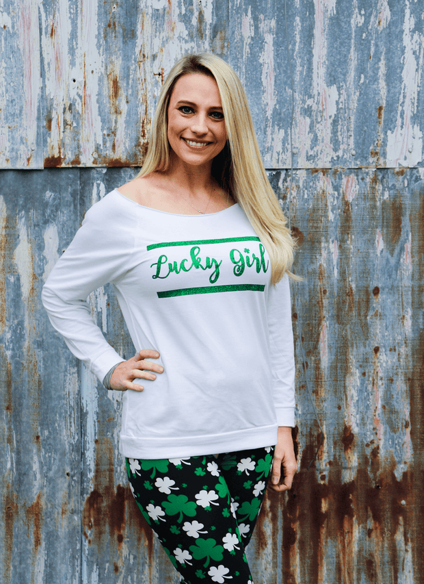 Lucky Girl Wide Neck Shirt