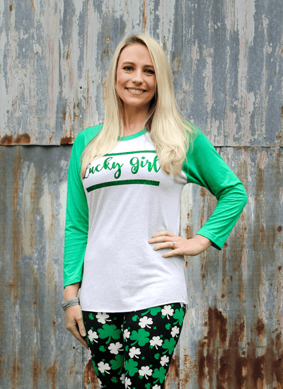 Luck Girl Glitter Raglan T-Shirt