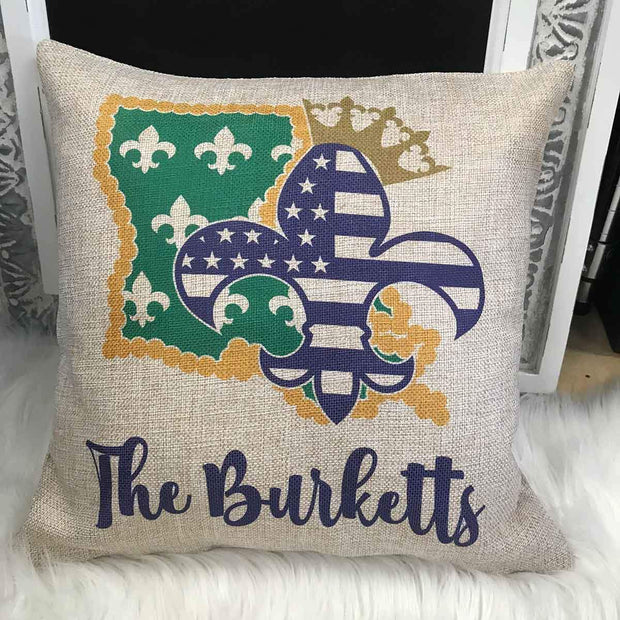 Personalized Louisiana Fleur de lis Mardi Gras inspired Faux-Burlap 16x16 pillow sham with insert