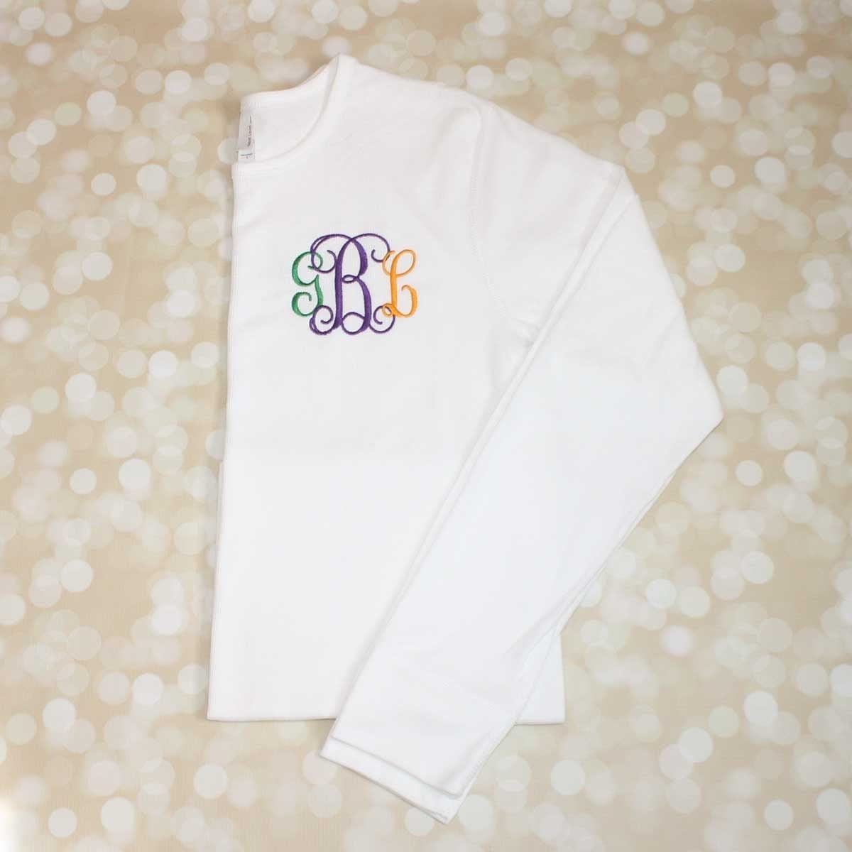 3487dfa1e4364 Monogrammed Mardi Gras Thermal Shirt - GLAM - Girls Love A Monogram