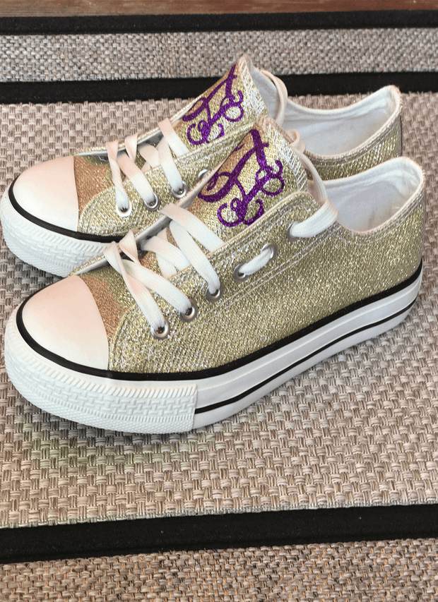 Purple and Gold Glitter Monogram Tennis Shoes