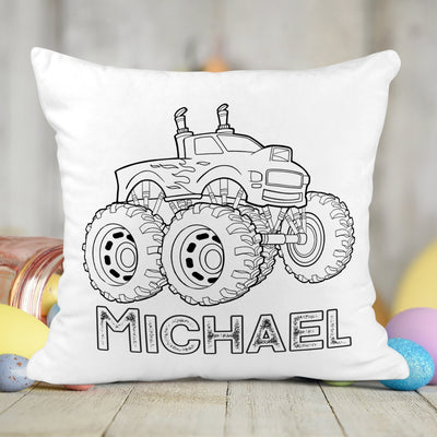 Personalized Monster Truck Activity Coloring Pillow with 10 Washable Markers