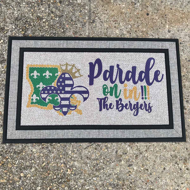Parade On In Personalized Welcome Mat