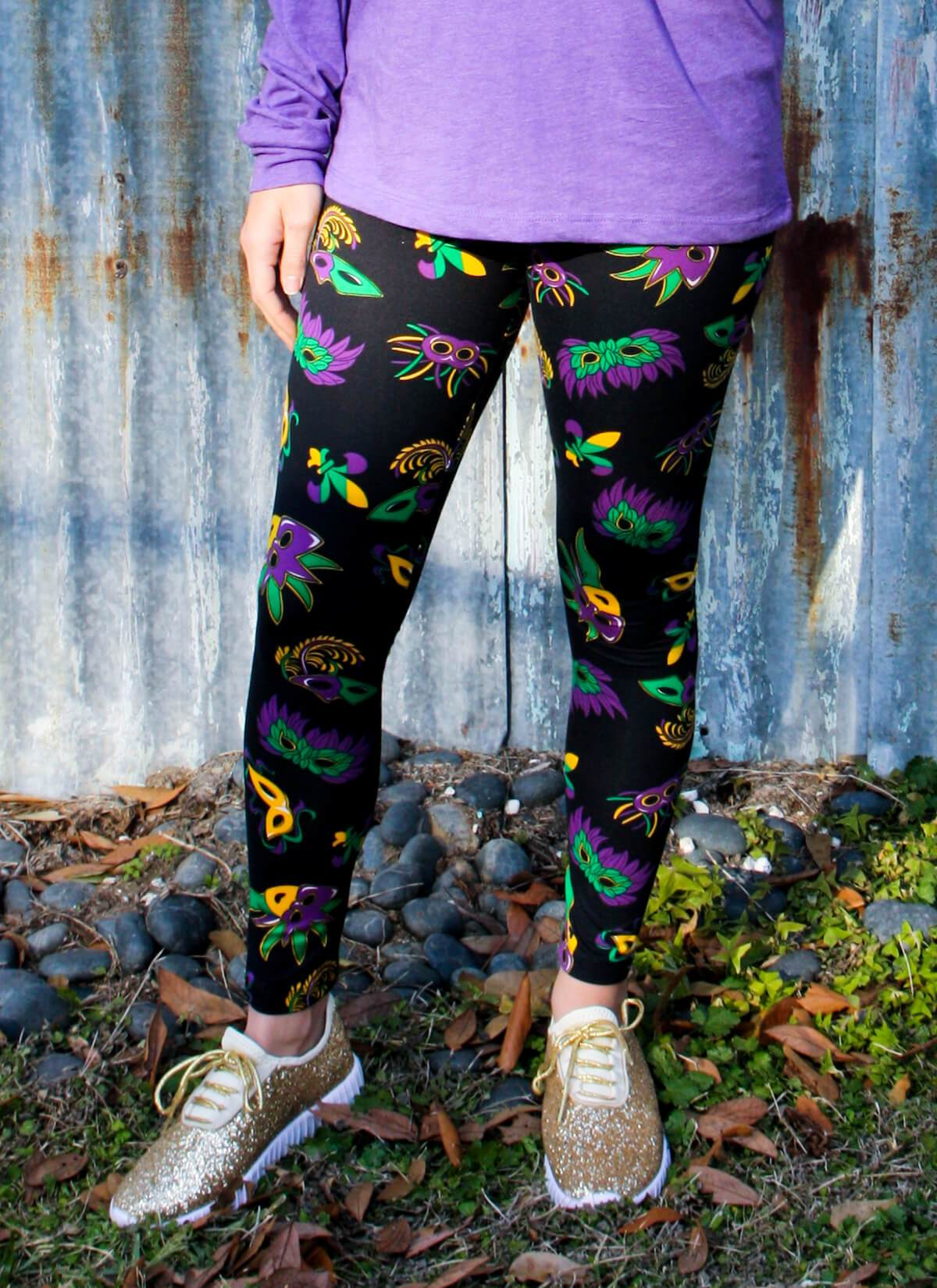 3b16db3aec2b5 Mardi Gras Mask Leggings (Regular & Curvy) - GLAM - Girls Love A ...