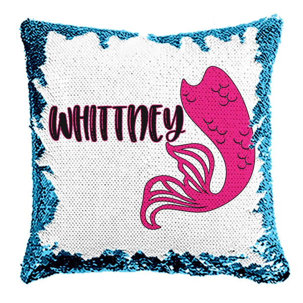 Personalized Mermaid Reversible Sequin Flip Pillow | 6 Designs and Colors to Choose from