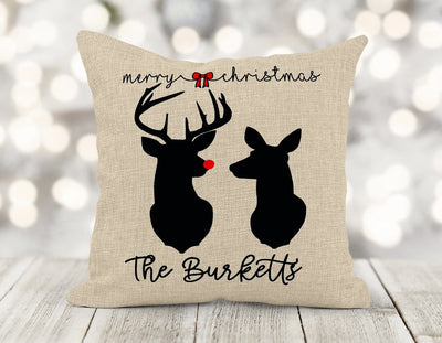 Personalized Merry Christmas Deer 16x16 Pillow