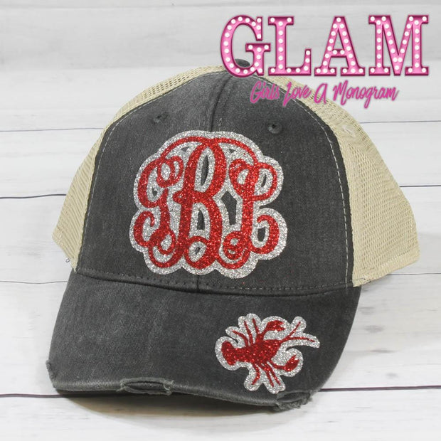 Blackwash Denim Glitter Crawfish Monogrammed Hat