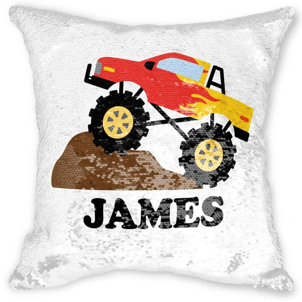 Monster Truck Reversible Sequin Pillow