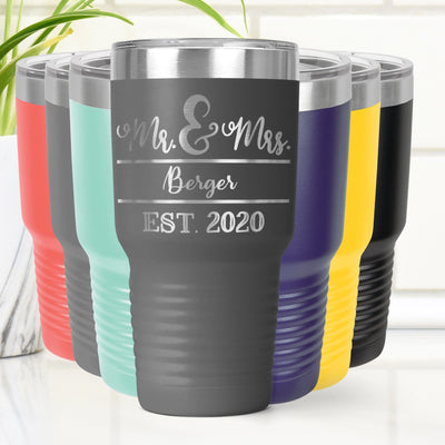 Personalized Mr & Mrs Laser Etched Tumbler Cup 20 oz. or 30 oz. Add Your Name and Year Established