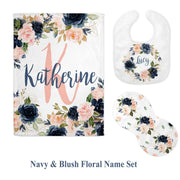 Navy and Blush Personalized Baby Blanket