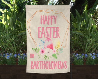 Happy Easter Personalized Faux Burlap Garden Flag