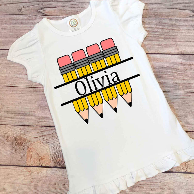 Personalized Little Girl Back to School Pencil Shirt
