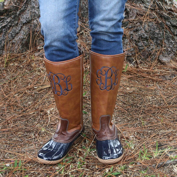 Ladies Tall Navy Monogrammed Duck Boots