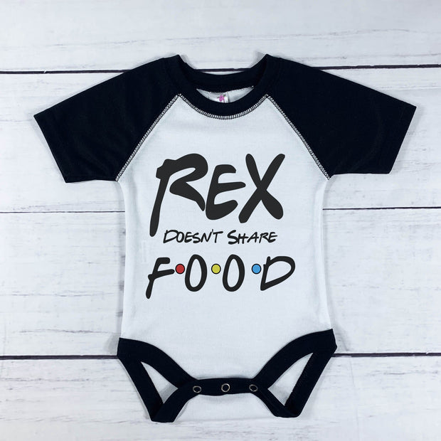 Personalized Doesn't Share Food Short Sleeve Baby Raglan Sleeve Bodysuit