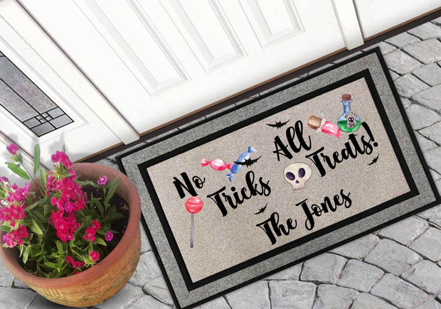 Personalized No Tricks All Treats Welcome Mat