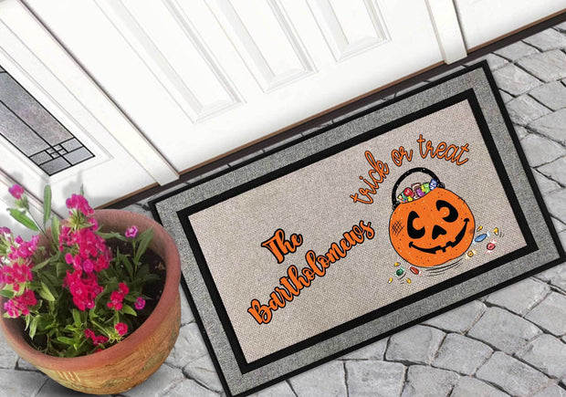 Personalized Trick or Treat Welcome Mat