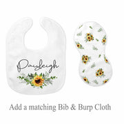 Sunflower Bib & Burp Cloth