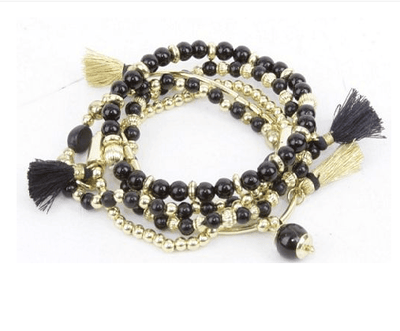 Black and Gold Tassle Bracelet
