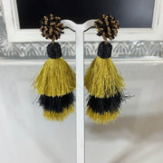Black and Gold Chunky Tassel Earrings with beaded post