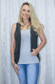 Charcoal gray Sleeveless Cardigan