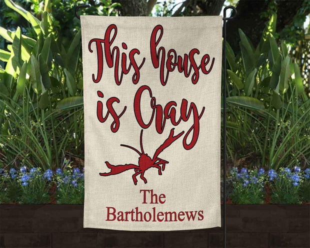 Personalized Crawfish Burlap Garden Flag