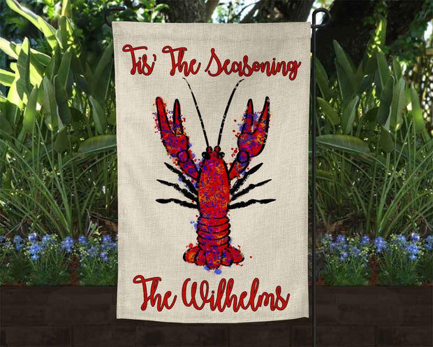 Personalized Tis The Seasoning Crawfish Burlap Garden Flag