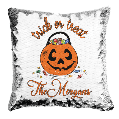 Trick or Treat Personalized Reversible Sequin Pillow | 16in x16in