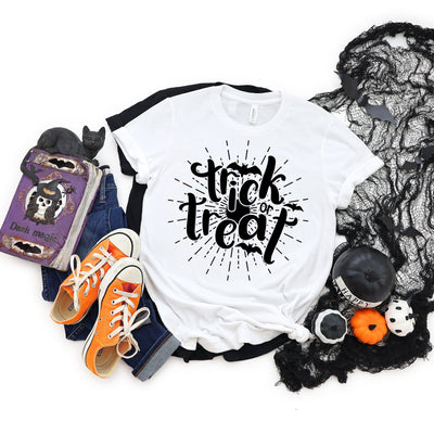 Trick or Treat Halloween T-Shirt | Halloween Apparel, Halloween Clothing, Comfy Tee