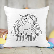 Personalized Unicorn with Rainbow Activity Coloring Pillow with 10 Washable Markers