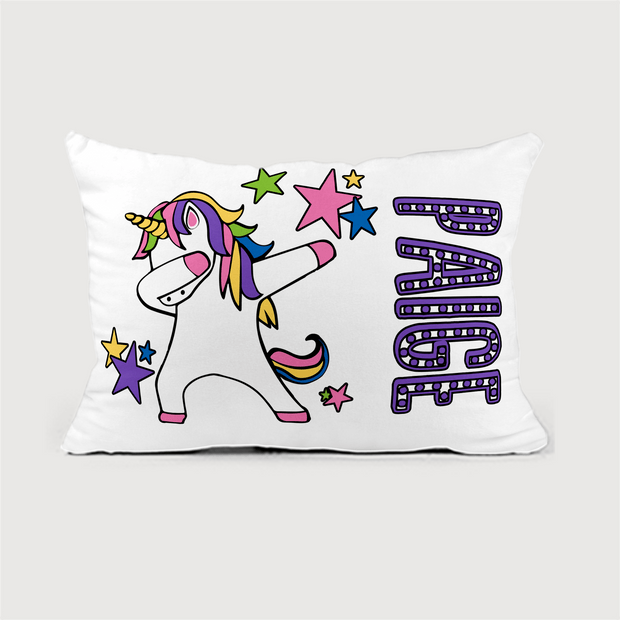 Personalized Unicorn Kids Nap Pillow Insert Included | 12 x 18 Soft Velveteen Microfiber Washable| 6 Designs to Choose from | Great Sleepover Pillow