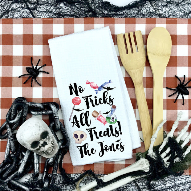 No Tricks All Treats Personalized Waffle Weave Kitchen Towel | Halloween Decor, Halloween Home Accents