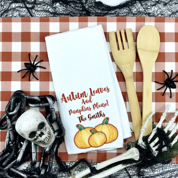 Autum Leaves and Pumpkins, Please Waffle Weave Hand Towel