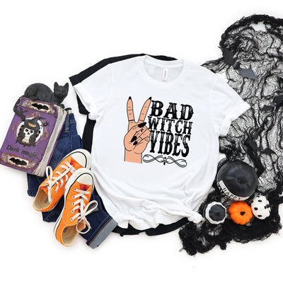 Bad Witch Vibes Halloween T-Shirt | Halloween Apparel, Halloween Clothing, Comfy Tee