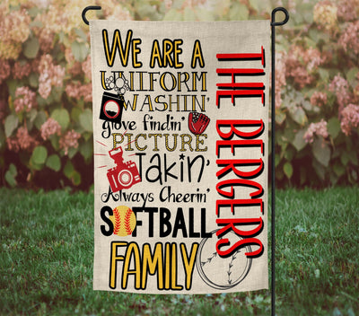 "Personalized Softball Kinda Family 12""x18"" Burlap Garden Flag"