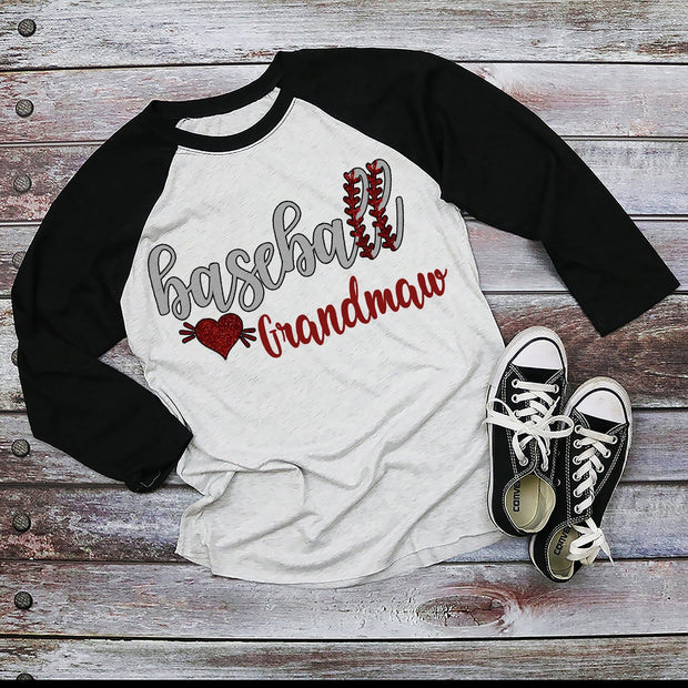 Custom Baseball Black Sleeved Raglan, Add Any Name, Gigi, Grandma, Mom, Nana