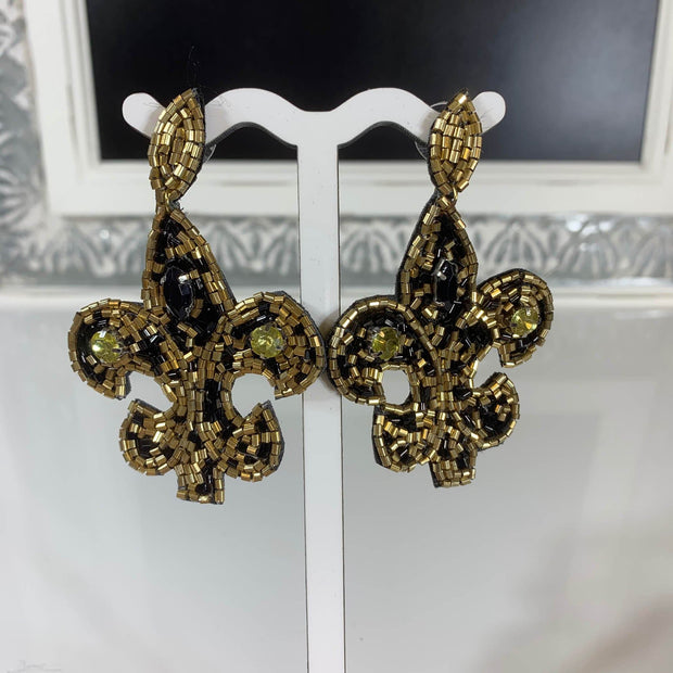 Black and Gold Beaded Fleur De Lis Earrings