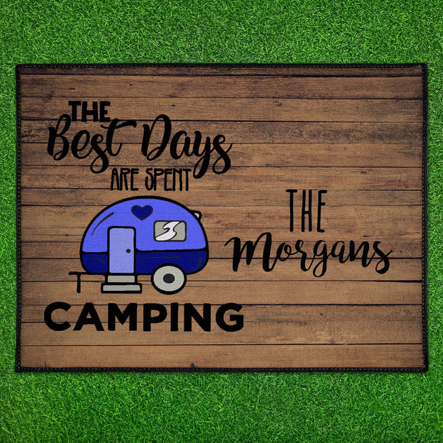 Personalized The Best Days Are Spent Camping Floor Mat 18in x 24in Indoor/Outdoor