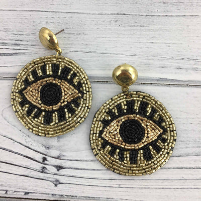 Black and Gold Eye Earrings