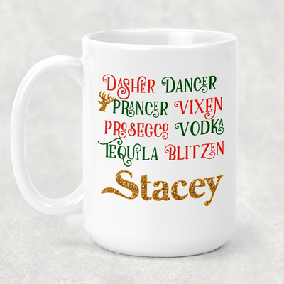 Personalized Blitzen Christmas Holiday Seasonal Coffee Mug