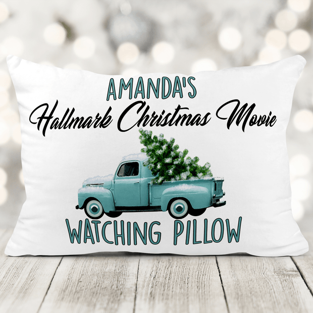 Personalized Hallmark Movie Watching 12 x 18 Soft Velveteen Microfiber Pillow With Insert