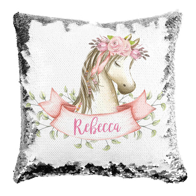 Boho Horse Personalized Mermaid Pillow