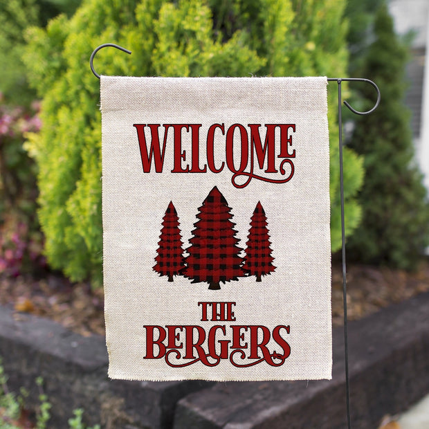 PERSONALIZED RED BUFFALO PLAID FAUX BURLAP GARDEN FLAG 12X18 | WELCOME CHRISTMAS FARMHOUSE DECOR-YARD OUTDOOR DECOR