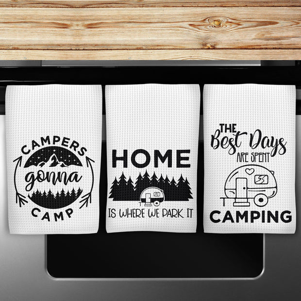 Waffle Weave Kitchen Camper Hand Towels Black and White Design 6 options to Choose from.
