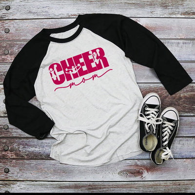 Cheer Mom Black Sleeved Raglan Shirt