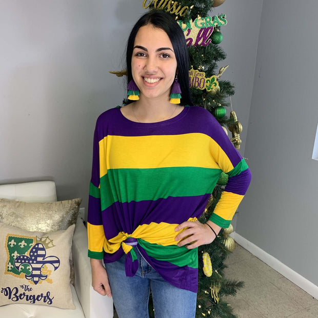 Mardi Gras Color Block Bamboo Tunic