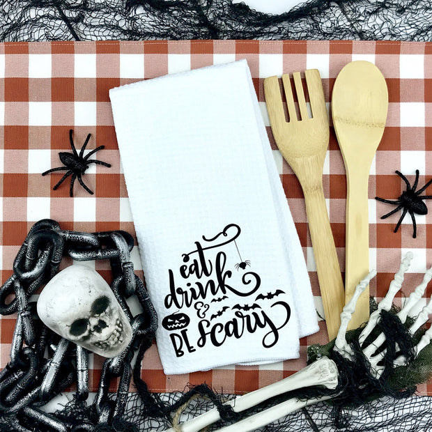 Eat, Drink and Be Scary Waffle Weave Kitchen Towel | Halloween Decor, Halloween Home Accents