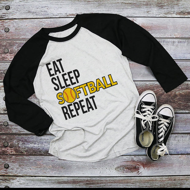 Eat Sleep Softball Repeat Black Sleeved Raglan Shirt